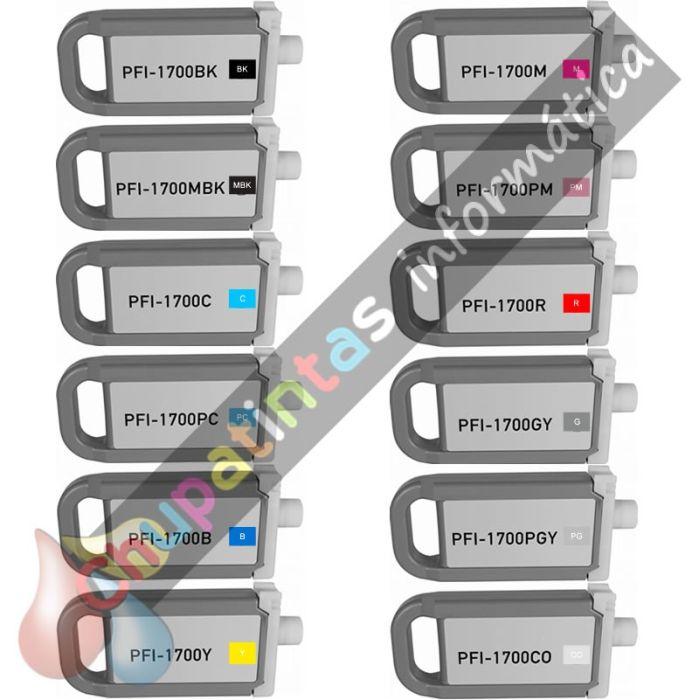 CANON PFI1700/PFI1300/PFI1100 COMPATIBLE PACK AHORRO 12 COLORES