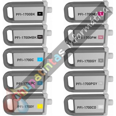 CANON PFI1700/PFI1300/PFI1100 COMPATIBLE PACK AHORRO 10 COLORES