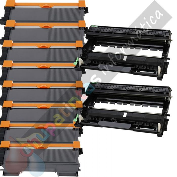 8 BROTHER TN2220 TONER COMPATIBLE + 2 DR2200 TAMBOR COMPATIBLE PACK AHORRO