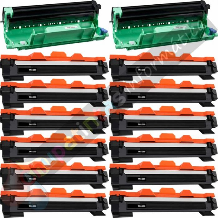 12 BROTHER TN1050 TONER COMPATIBLE + 2 DR1050 TAMBOR COMPATIBLE PACK AHORRO