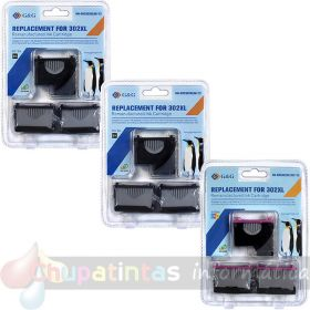 HP 302 COMPATIBLE TRICOLOR PACK AHORRO 9 CARTUCHOS MARCA G&G
